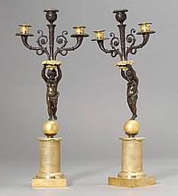1 PAAR GIRANDOLEN, Paris, 19. Jh.Bronze vergoldet