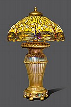 TIFFANY STUDIOS NEW YORKIMPORTANT, MONUMENTAL TABLE LAMP, 'DROPHEAD DRAGONFLY', ca. 1