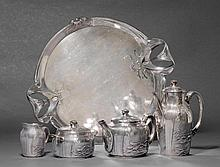 GALLIA/CHRISTOFLETEA AND COFFEE SERVICE, (1900-1937).Silver-plated metal. Compris