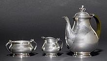 JOHANNES SIGGAARDCOFFEE SERVICE, ca. 1930.Silver. Comprising: coffee pot, sugar b