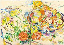 BURI, SAMUEL(1935 Täuffelen)Still life of flowers. 1984.Watercolour on paper.