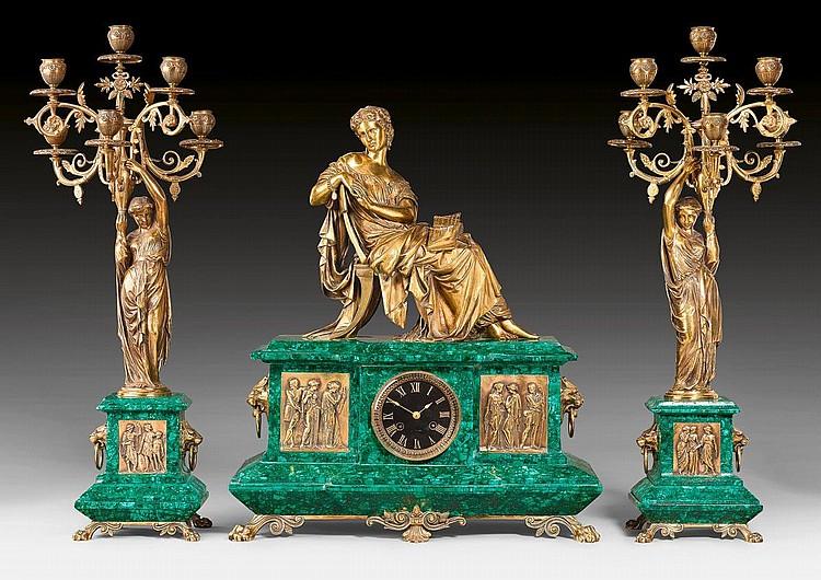 MALACHIT-KAMINGARNITUR, Napoléon III, in der Art