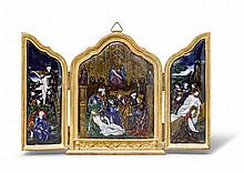 ENAMEL TRIPTYCHON, in the style of the 16th
