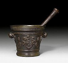 LARGE MORTAR WITH PESTLE, Renaissance, inscribed