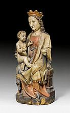 ENTHRONED MADONNA AND CHILD, France, Gothic type,