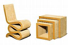 FRANK OWEN GEHRY(1929)CHAIR AND TABLE, 'Wiggle Side Chair' and 'Low Table Set' mo