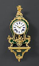 GREEN PAINTED HORN CLOCK with base, Louis XV, the