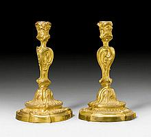 PAIR OF CANDLE HOLDERS, late Louis XV, with mark