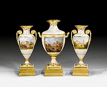 SERIES OF 3 IMPORTANT VASES, Restoration,