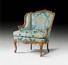 WING BACK CHAIR, Louis XV, Paris ca. 1760. Moulded