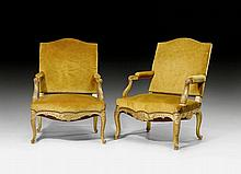 PAIR OF LARGE FAUTEUILS 'A LA REINE', in the
