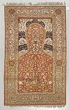 ANATOLIAN SILK old. Rust-coloured mihrab with