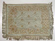 EUROPEAN SILK EMBROIDERY antique. Khaki ground
