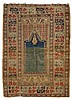 GHIORDES antique. Greenish blue mihrab with light