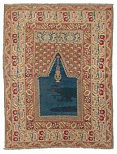 GHIORDES PRAYER antique. Blue mihrab with green