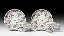 PAIR OF CUPS AND SAUCERS, Nymphenburg, ca.