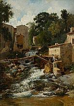 FLEURY, LÉON (1804 Paris 1848) The footbridge over