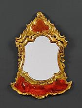 PAINTED MIRROR, Baroque, Italy, 18th century. Wood, carved wit