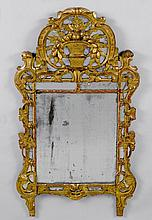 MIRROR, Regency, France. Pierced wood, carved with flowers, le