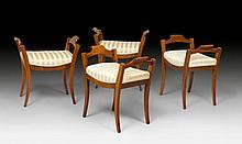 SET OF 4 STOOLS, Empire/Biedermeier, (Karl Johan style), Stockhol