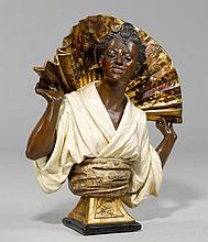 BUST OF A GEISHA, Art Nouveau, probably Vienna, verso signed KOEN