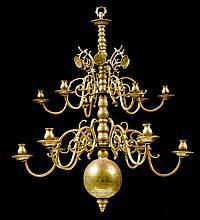 CHANDELIER, Baroque, Holland, 18th century. Bronze. Baluster s