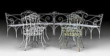 LARGE GARDEN FURNITURE, France, 19th century. Iron and iron ba