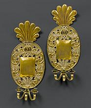 PAIR OF SCONCES, Baroque, probably Germany, 18th century. Pier