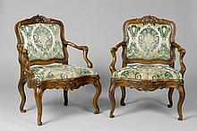 PAIR OF FAUTEUILS, Baroque, probably Germany, 18th century. Wa