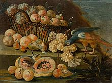 NAPLES, 18th CENTURY.  Pair of works: Still life with fruits a