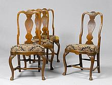 SET OF 4 CHAIRS, Baroque, Northern Germany, 18th century. Oak.