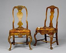 PAIR OF CHAIRS, Baroque, Germany, 18th century. Walnut, carved