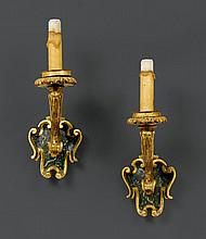 PAIR OF SCONCES, Baroque, Rome, 18th century. Wood, carved and
