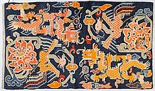 SATTELTEPPICH. Tibet, alt, 173x92 cm.Wolle. Rechteckig. Je zwei Drachen und Phönix über Kreuz angeordnet auf dunkelblauem Grund.