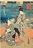 UTAGAWA KUNISADA I (TOYOKUNI III) (1786-1865): SECHS FARBHOLZSCHNITTE. Ôban.Fünf Blätter mit Szenen aus dem Kabuki Theater, sowie eines aus dem Kapitel 'Utsusemi' des Genji monogatari (Teil eines Triptychs). Unter Glas gerahmt. (6), Utagawa Kunisada, CHF350