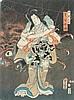 UTAGAWA KUNISADA I (TOYOKUNI III) (1786-1865). 1853, ôban.Der Schauspieler Bandô Shûka I als Shiranui Daijin, verwandelt in Wakana-hime. Teil eines Diptychs. Signiert Toyokuni ga in Toshidama Kartusche. Verleger Hamadaya Tokubei. Ochse 4 Datums- ,, Utagawa Kunisada, CHF300