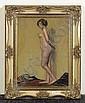 *PIET, FERNAND Stehender weiblicher Akt. Öl auf Karton. 33,4 x 25 cm., Fernand Piet, Click for value