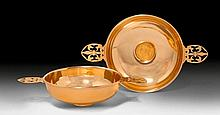 PAIR OF GOLDEN TASTEVINS WITH NAPOLEON COINS,14 ct yellow