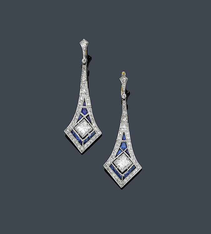 SAPPHIRE AND DIAMOND EAR PENDANTS. Platinum and
