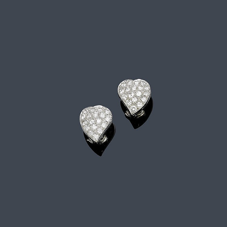 DIAMOND EAR CLIPS, VAN CLEEF & ARPELS. Platinum