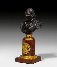 SMALL BRONZE BUST OF LOUIS XVIII,Restoration, Paris, 19th c