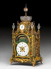 PAINTED MANTEL CLOCK WITH AUTOMATION AND MUSICAL WORK,Georg