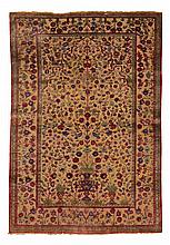 KASHAN SILK antique.Beige central field, finely patterned w