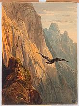 ALEXANDRE CALAME (Arabie 1810 - 1864 Menton) Eagle circlin