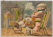 TÖPFFER, RODOLPHE (1799 Geneva 1846) Interior with man smo