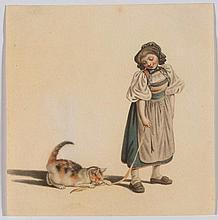 MIND, GOTTFRIED (1768 Bern 1814) Girl with cat. Waterco