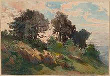 CALAME, ARTHUR (1843 Geneva 1919) Hill near Kreutznach.