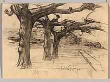 VALLET, EDOUARD EUGENE (1876 Geneva 1929) Plane trees.