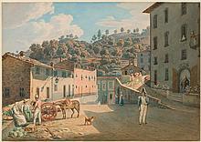 ITALIAN, CIRCA 1820 View of a mountain village. Watercolou