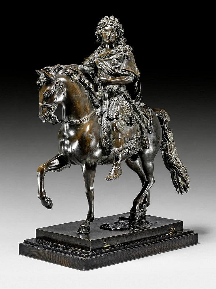 EQUESTRIAN STATUE OF LOUIS XIV,after a model by F.